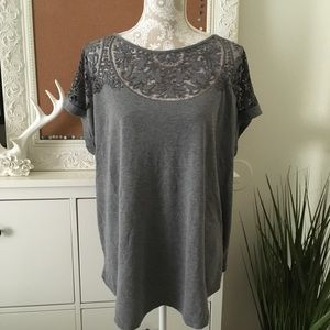 Ava & Viv Sheer Lace Neck Tee